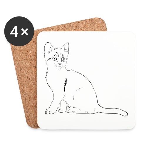 Housse de coussin Chat dessin - Dessous de verre (lot de 4)
