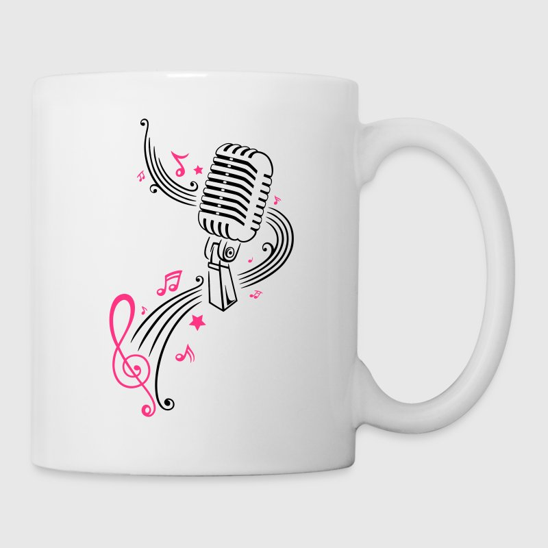 Retro microphone with music notes and clef. - Mug