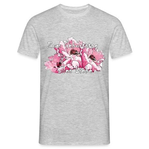 Zum Geburtstag pink Rosen - Männer T-Shirt
