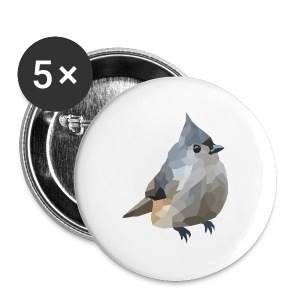 Polygon Art: Tufted Titmouse T-Shirts - Buttons groß 56 mm