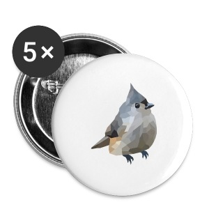 Polygon Art: Tufted Titmouse T-Shirts - Buttons mittel 32 mm
