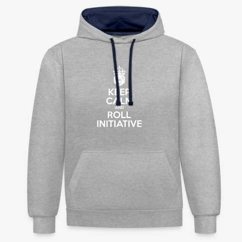 Keep Calm and Roll Initiative gray shirt - Contrast hoodie