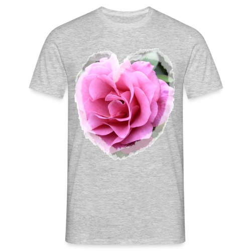 Rose-pink-Herz - Männer T-Shirt