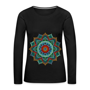 Handpan - Hang Drum Mandala blue red - Frauen Premium Langarmshirt