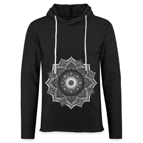 Handpan - Hang Drum Mandala grey - Leichtes Kapuzensweatshirt Unisex