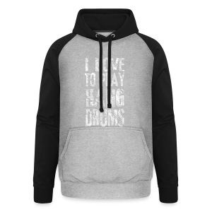 I LOVE TO PLAY HANG DRUMS - fractal white - Unisex Baseball Hoodie