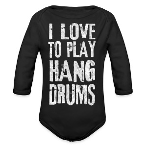 I LOVE TO PLAY HANG DRUMS - fractal white - Baby Bio-Langarm-Body