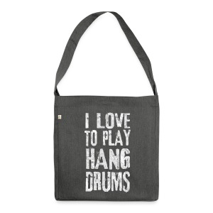 I LOVE TO PLAY HANG DRUMS - fractal white - Schultertasche aus Recycling-Material