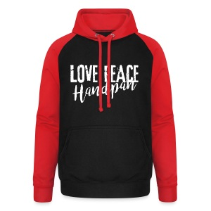 LOVE PEACE Handpan white - Unisex Baseball Hoodie
