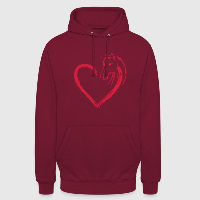 hjerte hest Sweatshirts - Hættetrøje unisex