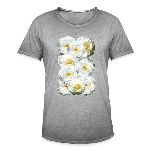 Rose-weiss-Collage - Männer Vintage T-Shirt