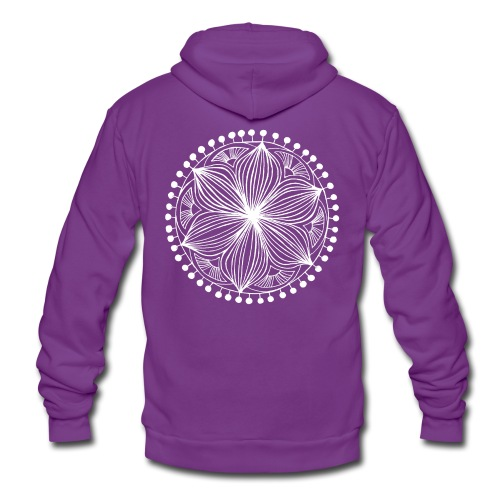 White Frankie Mandala - Unisex Hooded Jacket by Bella + Canvas