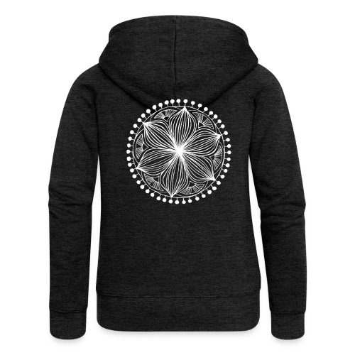 White Frankie Mandala - Women's Premium Hooded Jacket