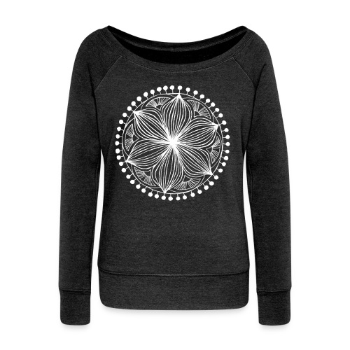 White Frankie Mandala - Women's Boat Neck Long Sleeve Top