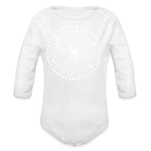 White Frankie Mandala - Organic Longsleeve Baby Bodysuit