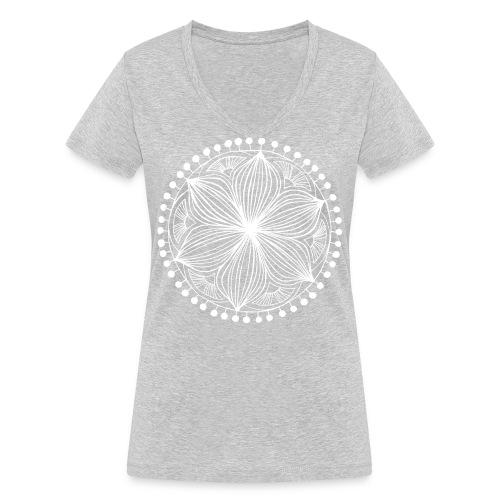White Frankie Mandala - Women's Organic V-Neck T-Shirt by Stanley & Stella