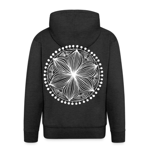 White Frankie Mandala - Men's Premium Hooded Jacket