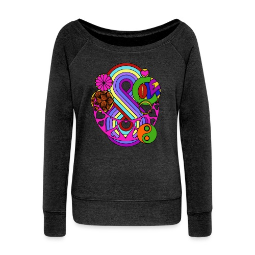 Colour Love Mandala - Women's Boat Neck Long Sleeve Top