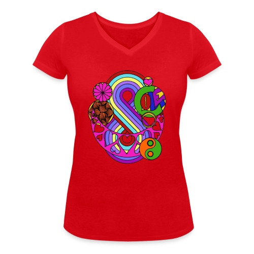 Colour Love Mandala - Women's Organic V-Neck T-Shirt by Stanley & Stella