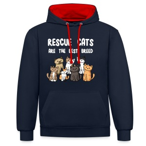 Rescue Cats Are The Best Breed - Women's Tee - Contrast Colour Hoodie