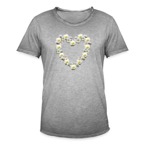Weisses-Rosen-Herz - Männer Vintage T-Shirt