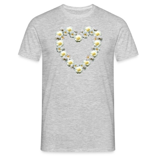 Weisses-Rosen-Herz - Männer T-Shirt