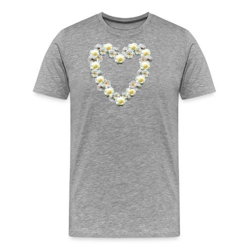 Weisses-Rosen-Herz - Männer Premium T-Shirt