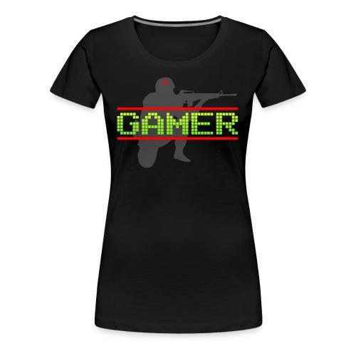 Gamer met soldaten silhouette zwart t-shirt - Vrouwen Premium T-shirt
