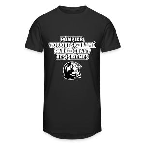 POMPIER, TOUJOURS CHARMÉ PAR LE CHANT DES SIRÈNES - JEUX DE MOTS - FRANCOIS VILLE - T-shirt long Homme
