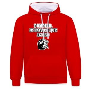 POMPIER, JE FAIS CE QUE JE FEU - JEUX DE MOTS - FRANCOIS VILLE - Sweat-shirt contraste