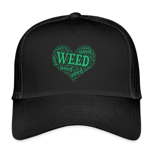 I Love Weed Heart Wordcloud Mug - Trucker Cap