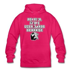POMPIER, J'AIME LES REGARDS DE BRAISE - JEUX DE MOTS - FRANCOIS VILLE - Sweat-shirt à capuche unisexe