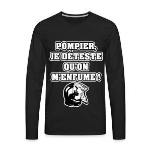POMPIER, JE DÉTESTE QU'ON M'ENFUME - JEUX DE MOTS - FRANCOIS VILLE - T-shirt manches longues Premium Homme
