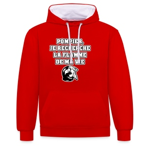 POMPIER, JE RECHERCHE LA FLAMME DE MA VIE - JEUX DE MOTS - FRANCOIS VILLE - Sweat-shirt contraste