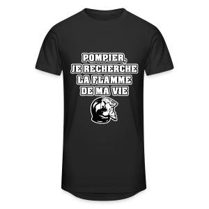 POMPIER, JE RECHERCHE LA FLAMME DE MA VIE - JEUX DE MOTS - FRANCOIS VILLE - T-shirt long Homme