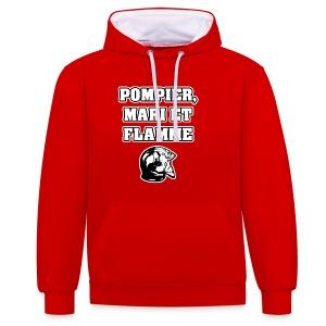 POMPIER, MARI ET FLAMME - JEUX DE MOTS - FRANCOIS VILLE - Sweat-shirt contraste