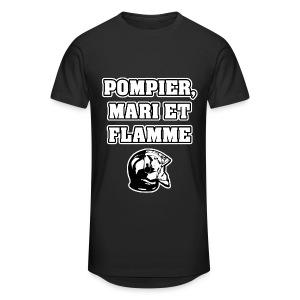 POMPIER, MARI ET FLAMME - JEUX DE MOTS - FRANCOIS VILLE - T-shirt long Homme