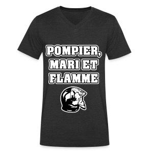 POMPIER, MARI ET FLAMME - JEUX DE MOTS - FRANCOIS VILLE - T-shirt bio col V Stanley & Stella Homme