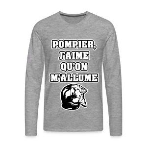 POMPIER, J'AIME QU'ON M'ALLUME - JEUX DE MOTS - FRANCOIS VILLE - T-shirt manches longues Premium Homme