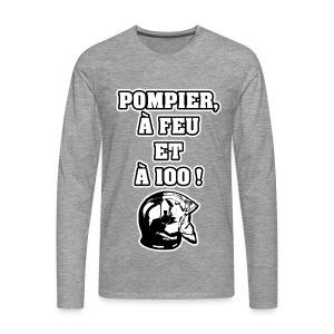 POMPIER, À FEU ET À 100 ! - JEUX DE MOTS - FRANCOIS VILLE - T-shirt manches longues Premium Homme