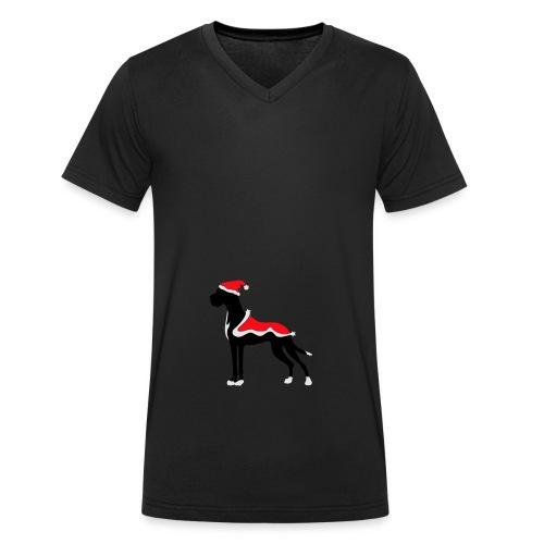 Weihnachtsdogge - Männer Bio-T-Shirt mit V-Ausschnitt von Stanley & Stella