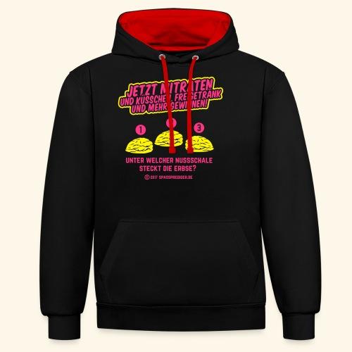 lustiges Flirt-Shirt Hütchenspiel - Kontrast-Hoodie