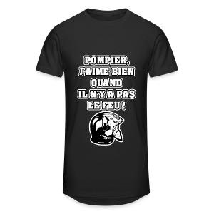 POMPIER, J'AIME BIEN QUAND IL N'Y A PAS LE FEU - JEUX DE MOTS - FRANCOIS VILLE - T-shirt long Homme