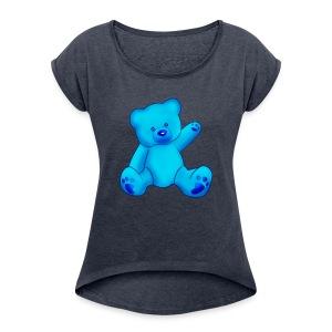 T-shirt Ourson bleu  - T-shirt à manches retroussées Femme