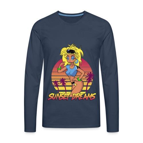 Sunset Dreams Pinup Blue - Miesten premium pitkähihainen t-paita