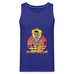 Sunset Dreams Pinup Blue - Miesten premium hihaton paita