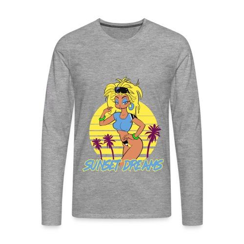 Sunset Dreams Pinup Pink - Miesten premium pitkähihainen t-paita