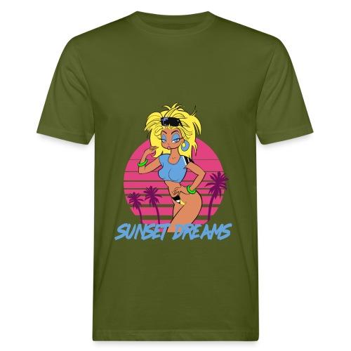 Sunset Dreams Pinup Yellow - Miesten luonnonmukainen t-paita