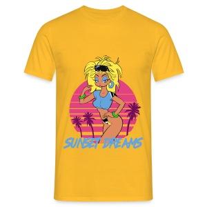 Sunset Dreams Pinup Yellow - Miesten t-paita