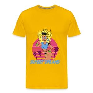Sunset Dreams Pinup Yellow - Miesten premium t-paita